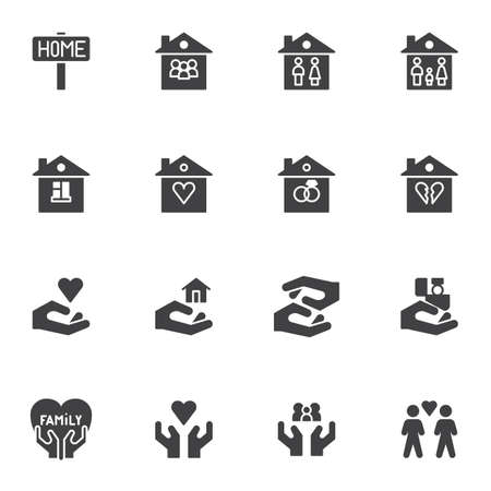 Family house vector icons set, modern solid symbol collection, filled style pictogram pack. Signs, logo illustration. Set includes icons as home, love family heart, newlyweds, real estate, valentine