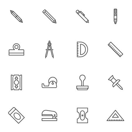 Stationary equipment vector icons set, modern solid symbol collection, Office tool filled style pictogram pack. Signs logo illustration. Set includes icons as pen, pencil, ruler, compass, push pin