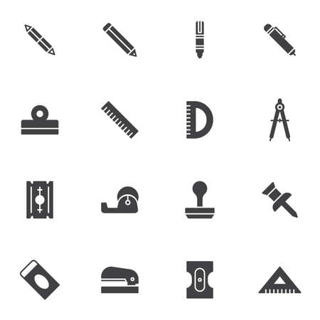 Stationary equipment vector icons set, modern solid symbol collection, Office tool filled style pictogram pack. Signs, logo illustration. Set includes icons as pen, pencil, ruler, compass, push pin Ilustracja