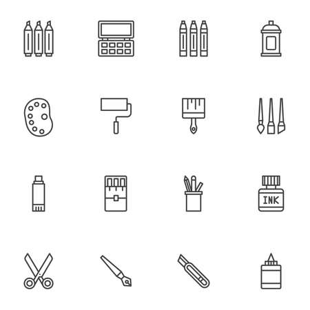 Stationery tool line icons set. linear style symbols collection, outline signs pack. vector graphics. Set includes icons as scissors, office equipment, paintbrush and palette , ink bottle, spray can