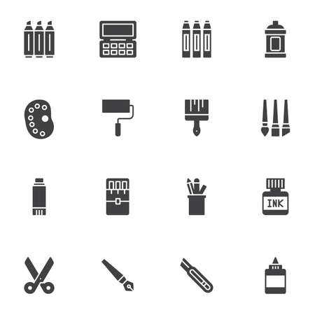 Stationery tool vector icons set, modern solid symbol collection, filled style pictogram pack. Signs, logo illustration. Set includes icons as scissors, office equipment, paintbrush and color palette