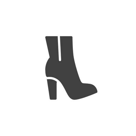 High Hill boot vector icon. filled flat sign for mobile concept and web design. Women boot shoe on heel glyph icon. Symbol, logo illustration. Vector graphics