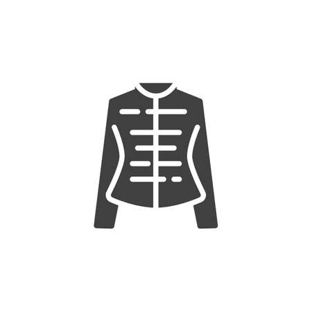 Womens jacket vector icon. Female clothes filled flat sign for mobile concept and web design. Long sleeve shirt glyph icon. Symbol, logo illustration. Vector graphics