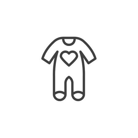 Baby clothes bodysuit line icon. Jumpsuit romper linear style sign for mobile concept and web design. Infant Romper with heart outline vector icon. Symbol, logo illustration. Vector graphics