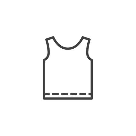 Singlet shirt line icon. linear style sign for mobile concept and web design. Mens tank top without sleeves outline vector icon. Symbol, logo illustration. Vector graphics 일러스트