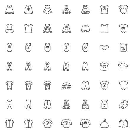 Babykleidung Linie Icons Set. Lineare Symbolsammlung für Säuglingskleidung, Umrisszeichenpaket. Vektorgrafiken. Das Set enthält Symbole wie Neugeborenen-Body, Strampler-Overall, Lätzchen, Kleid, Hemden