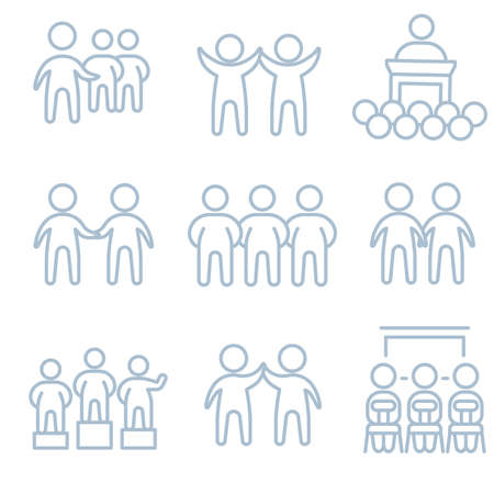 Teamwork people group icons pattern. Crowd of people seamless background. Recruitment Seamless pattern vector illustration
