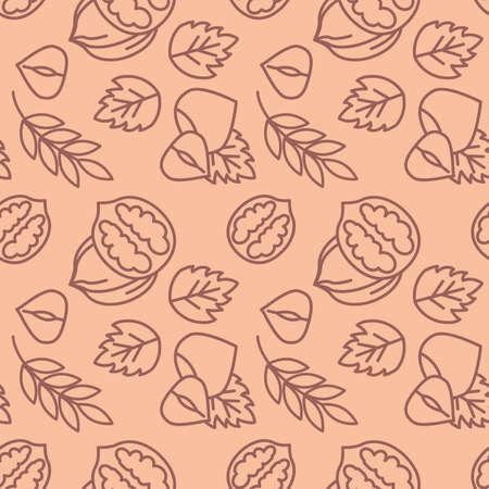Novruz holiday nuts icons pattern. Walnuts and hazelnuts seamless background. Seamless pattern vector illustration
