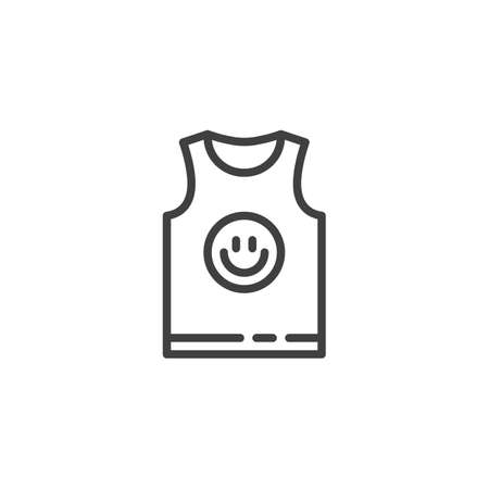 Mens singlet with smiley print line icon. linear style sign for mobile concept and web design. Sleeveless tank top outline vector icon. Symbol, logo illustration. Vector graphics