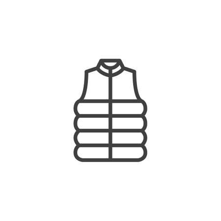 Sleeveless Winter Jacket line icon. linear style sign for mobile concept and web design. Mens sleeveless vest outline vector icon. Symbol, logo illustration. Vector graphics