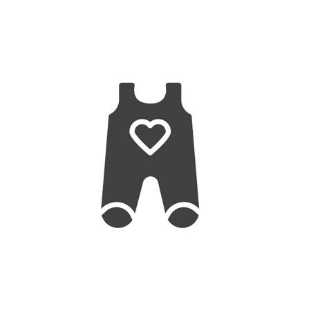 Infant baby romper with heart vector icon. filled flat sign for mobile concept and web design. Baby bodysuit clothes glyph icon. Symbol, logo illustration. Vector graphics
