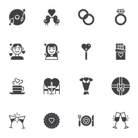 Wedding love vector icons set, modern solid symbol collection, filled style pictogram pack. Signs, logo illustration. Set includes icons as engagement rings, gift box, romantic dinner, champagne glass