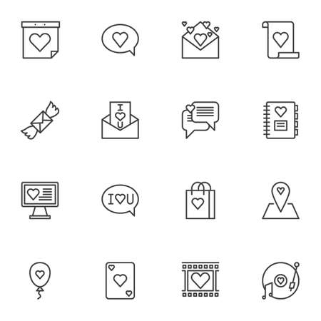 Valentines day line icons set. linear style symbols collection, Love, romance outline signs pack. vector graphics. Set includes icons as calendar day, love message, invitation card, romantic music