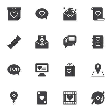 Valentines day vector icons set, modern solid symbol collection, filled style pictogram pack. Signs, logo illustration. Set includes icons as calendar day, love message, invitation card, romantic music
