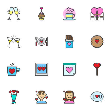 Wedding filled outline icons set, line vector symbol collection, Valentines day linear colorful pictogram pack. Signs, logo illustration, Set includes icons as birthday cake, romantic dinner, flowers Иллюстрация