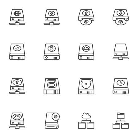 Backup data and recovery line icons set. linear style symbols collection, Data Restore outline signs pack. vector graphics. Set includes icons computer memory component, hdd storage, hard disc repair