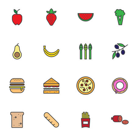 Fresh food filled outline icons set, line vector symbol collection, linear colorful pictogram pack. Signs, logo illustration, Set includes icons as sandwich, hamburger, fast food, pizza, french fries Ilustrace