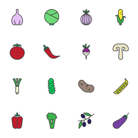 Vegetable food filled outline icons set, line vector symbol collection, linear colorful pictogram pack. Signs, logo illustration, Set includes icons as garlic, cabbage, tomato, mushroom, potato, olive