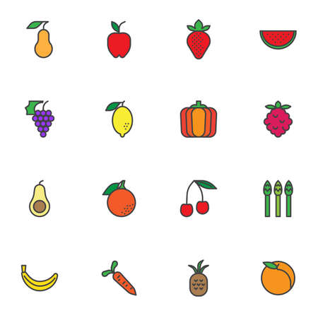 Fresh fruit filled outline icons set, organic food line vector symbol collection, linear colorful pictogram pack. Signs, logo illustration, Set includes icons as pear, apple, strawberry, orange, lemon
