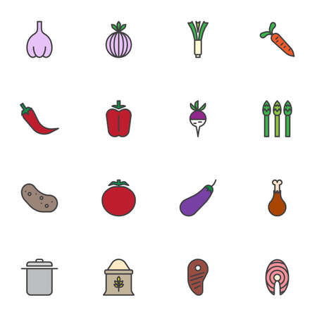 Cooking food filled outline icons set, organic food line vector symbol collection, linear colorful pictogram pack. Signs, logo illustration, Set includes icons as seafood, healthy vegetables, chicken