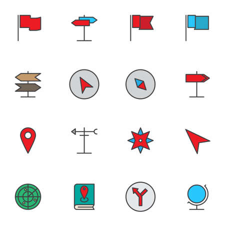 Navigation Marker filled outline icons set, Map Pointer line vector symbol collection, linear colorful pictogram pack. Signs, logo illustration, Set includes icons as location pin, guide book, globe
