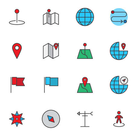 Gps Navigation Marker filled outline icons set, Map Pointer line vector symbol collection, linear colorful pictogram pack. Signs, logo illustration, Set includes icons as location pin, compass, globe