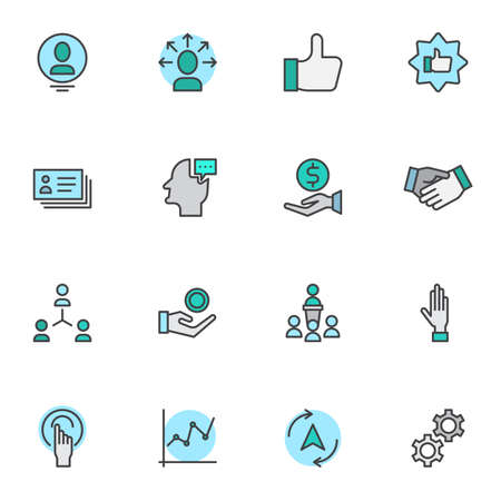 Business communication filled outline icons set, line vector symbol collection, linear colorful pictogram pack. Signs, logo illustration, Set includes icons as business meeting, partnership handshake