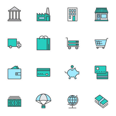 Banking and finance filled outline icons set, line vector symbol collection, linear colorful pictogram pack. Signs, logo illustration, Set includes icons as bank building, card, money bill, piggy bank