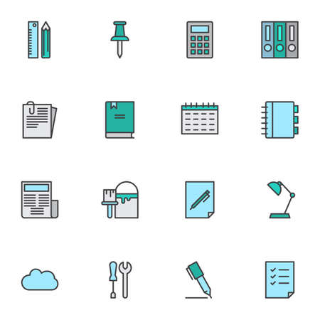 Office supplies filled outline icons set, line vector symbol collection, paperwork linear colorful pictogram pack. Signs, logo illustration, Set includes icons as file folders, calendar, notebook, pen