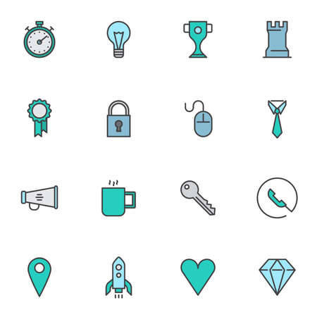 Business strategy filled outline icons set, line vector symbol collection, startup business linear colorful pictogram pack. Signs, logo illustration, Set includes icons as idea lamp, award cup, rocket Ilustrace