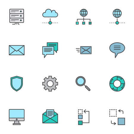 Business data filled outline icons set, line vector symbol collection, SEO database linear colorful pictogram pack. Signs, logo illustration, Set includes icons as computer monitor, network connection Reklamní fotografie - 140642513
