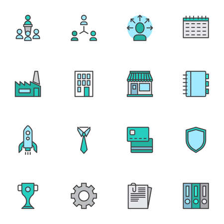 Business startup line icons set. linear style symbols collection, outline signs pack. vector graphics. Set includes icons as startup rocket, bank card, management, office building, award, file folder Ilustrace