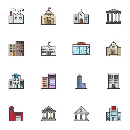 City buildings filled outline icons set, line vector symbol collection, linear colorful pictogram pack. Signs, logo illustration, Set includes icons as factory, school, bank, skyscraper office, church Ilustração