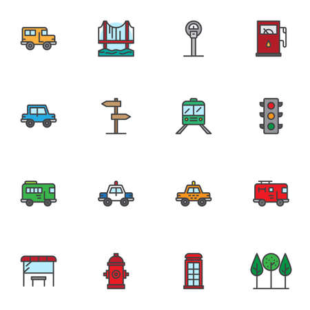 City transport filled outline icons set, line vector symbol collection, public transport linear colorful pictogram pack. Signs, logo illustration, Set includes icons as school bus, police car, taxi