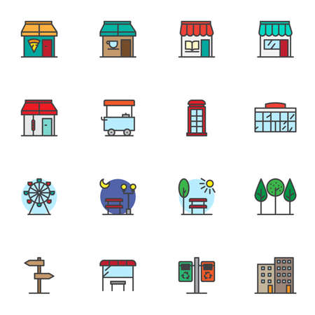 City infrastructure filled outline icons set, line vector symbol collection, linear colorful pictogram pack. Signs logo illustration, Set includes icons as bookstore, pizza house, park, store, airport