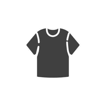 Blank T-shirt vector icon. filled flat sign for mobile concept and web design. Short sleeve t-shirt glyph icon. Symbol, logo illustration. Vector graphics Banque d'images - 140642610