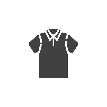 Blank polo t-shirt vector icon. filled flat sign for mobile concept and web design. Short sleeve Polo shirt, clothes glyph icon. Symbol, logo illustration. Vector graphics Banque d'images - 140642611
