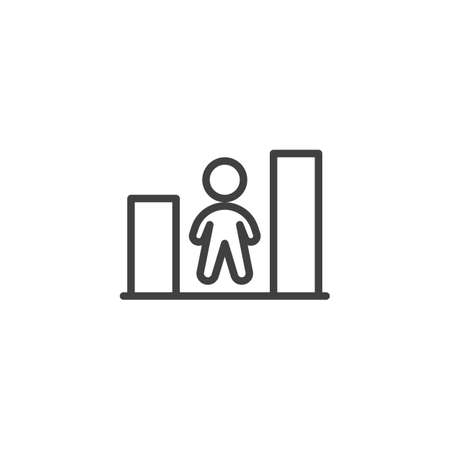 Growth chart employee line icon. linear style sign for mobile concept and web design. Business career growth outline vector icon. Symbol, logo illustration. Vector graphics Banque d'images - 140642826