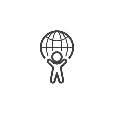 Global business line icon. linear style sign for mobile concept and web design. Man and globe outline vector icon. World day symbol, logo illustration. Vector graphics Banque d'images - 140642828