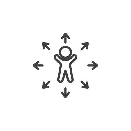 Decision Making line icon. Career choice linear style sign for mobile concept and web design. Man and arrows outline vector icon. Symbol, logo illustration. Vector graphics Banque d'images - 140642833