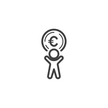 Man with euro coin line icon. linear style sign for mobile concept and web design. Making and Saving Money outline vector icon. Currency exchange symbol, logo illustration. Vector graphics Banque d'images - 140642857