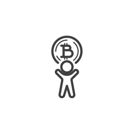 Man with bitcoin coin line icon. linear style sign for mobile concept and web design. Cryptocurrency mining outline vector icon. Symbol, logo illustration. Vector graphics Banque d'images - 140642859