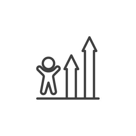 Business graph progress line icon. linear style sign for mobile concept and web design. Ranking, growth outline vector icon. Symbol, logo illustration. Vector graphics Banque d'images - 140642861