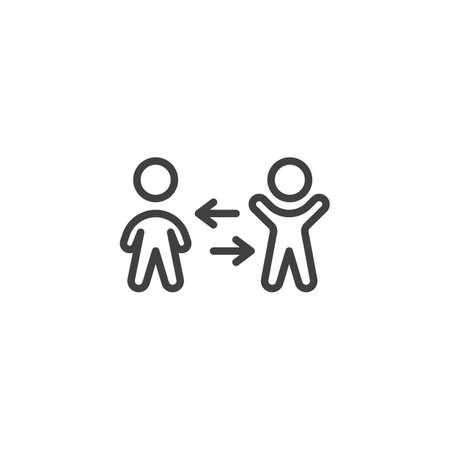 People exchange line icon. linear style sign for mobile concept and web design. Two man and arrows outline vector icon. Symbol, logo illustration. Vector graphics Banque d'images - 140642867