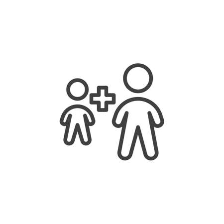 Employee plus line icon. Two people plus linear style sign for mobile concept and web design. Human resource outline vector icon. Symbol, logo illustration. Vector graphics Banque d'images - 140642873