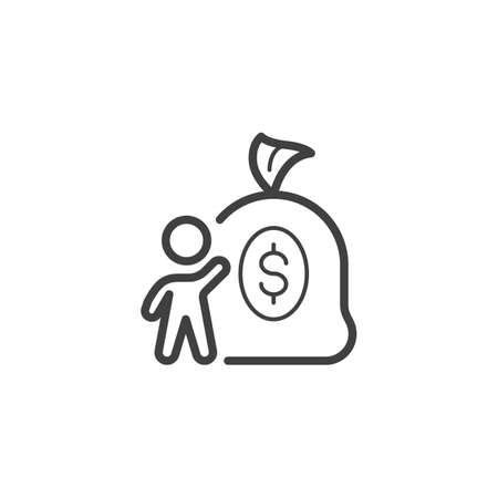 Money Investment line icon. linear style sign for mobile concept and web design. Man with money bag outline vector icon. Money savings symbol, logo illustration. Vector graphics Banque d'images - 140642876