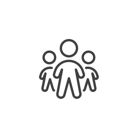 Team group line icon. Three people standing linear style sign for mobile concept and web design. Teamwork people group outline vector icon. Symbol, logo illustration. Vector graphics Banque d'images - 140642908