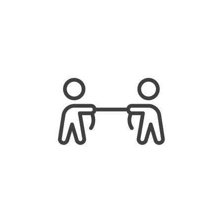 People playing Tug of war line icon. linear style sign for mobile concept and web design. Business competition outline vector icon. Symbol, logo illustration. Vector graphics