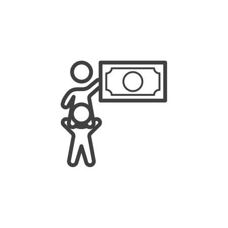 Teamwork people money line icon. linear style sign for mobile concept and web design. Business team money outline vector icon. Symbol, logo illustration. Vector graphics Banque d'images - 140642913