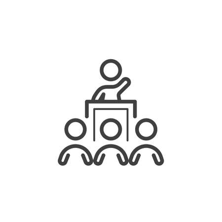 Business training speaker line icon. linear style sign for mobile concept and web design. Man on Conference podium outline vector icon. Symbol, logo illustration. Vector graphics Banque d'images - 140642914
